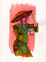Pinup Chinese punk girl  Comic Art