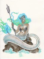 Pinup mermaid Comic Art